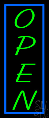 Vertical Open with Blue Border Neon Sign