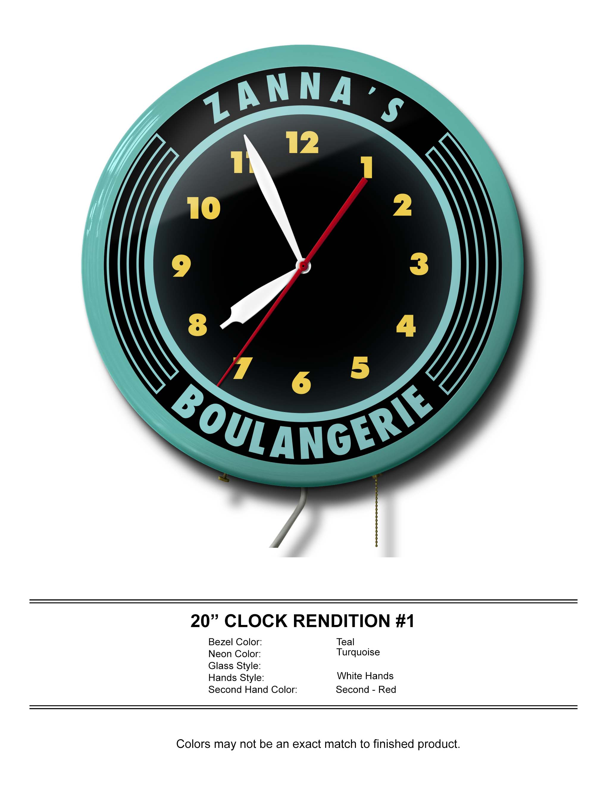 Custom Zanna's Boulangerie Neon Clock