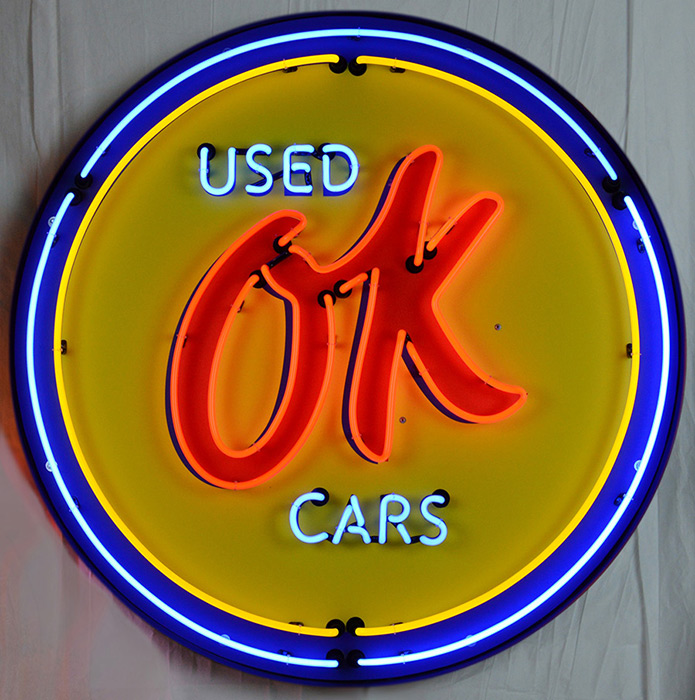 Gm Ok Used Cars 36 Inch Neon Sign in Metal Can