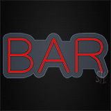 Bar Contoured Clear Backing Neon Sign