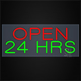 Open 24 Hrs Clear Backing Neon Sign