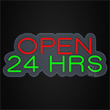 Open 24 Hrs Contoured Clear Backing Neon Sign