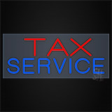 Red Blue Tax Service Clear Backing Neon Sign