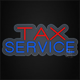 Red Blue Tax Service Contoured Clear Backing Neon Sign