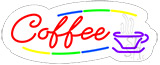 Deco Style Red Coffee Contoured Clear Backing Neon Sign