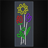 Vertical Flowers Logo Clear Backing Neon Sign