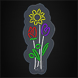 Vertical Flowers Logo Contoured Clear Backing Neon Sign