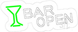 Bar Open With Wine Glass Contoured Clear Backing Neon Sign