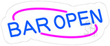 Blue Open Bar Contoured Clear Backing Neon Sign