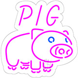 Pig Logo Contoured Clear Backing LED Neon Sign