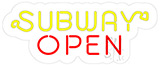 Subway Open Contoured Clear Backing Neon Flex Sign