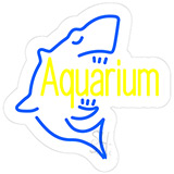 Aquarium With Shark Logo Contoured Clear Backing Neon Sign