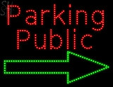 Custom Red Public Parking With Arrow Outdoor Led Sign 1