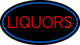 Liquors Oval With Blue Border Neon Sign