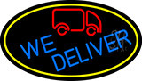 We Deliver Van Oval With Yellow Border Neon Sign