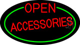 Red Open Accessories Oval With Green Border Neon Sign
