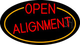 Red Open Alignment Oval With Orange Border Neon Sign