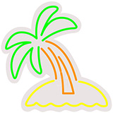 Palm Tree Contoured Clear Backing Neon Sign
