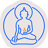 Buddha With Flame Contoured Clear Backing Neon Sign