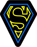 Superman Logo Contoured Black Backing Neon Sign
