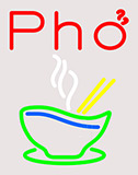 Pho Bowl Clear Backing Neon Sign