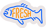 Fresh Fish Contoured Clear Backing Neon Sign