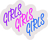 Girls Girls Girls Contoured Clear Backing Neon Sign