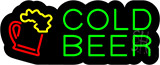 Cold Beer With Mug Logo Contoured Black Backing Neon Sign
