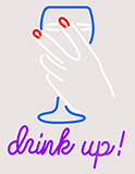 Drink Up With Martini Glass Clear Backing Neon Sign