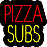 Pizza Subs Contoured Black Backing Neon Sign