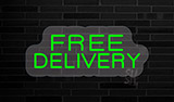 Red Free Delivery Contoured Clear Backing Neon Sign