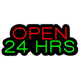 Open 24 Hrs Contoured Black Backing Neon Sign