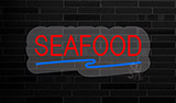 Red Seafood with Blue Line Contoured Clear Backing Neon Sign
