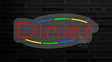 Diner Contoured Clear Backing Neon Sign