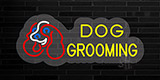 Yellow Dog Grooming with Logo Contoured Clear Backing Neon Sign