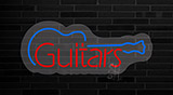 Guitars Graphic Contoured Clear Backing Neon Sign