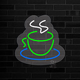 Green Coffee Cup Logo Contoured Clear Backing LED Neon Sign
