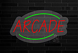 Deco Style Arcade Flashing Contoured Clear Backing Neon Sign