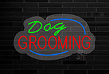Deco Style Dog Grooming Flashing Contoured Clear Backing Neon Sign