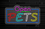 Open Pets Contoured Clear Backing Neon Sign