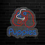 Puppies Contoured Clear Backing Neon Sign