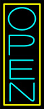Aqua Open With Yellow Border Vertical Neon Sign