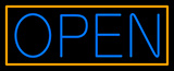 Blue Open With Orange Border Neon Sign