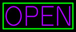Green Border With Purple Open Neon Sign