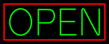 Green Open With Red Border Neon Sign