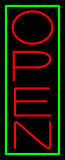 Red Open With Green Border Vertical Neon Sign