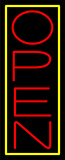 Red Open With Yellow Border Vertical Neon Sign