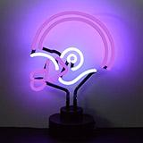 Helmet Purple and White Neon Sculpture