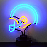 BlueYellow Football Helmet Neon Sculpture