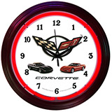 GM Corvette C5 15 Inch Neon Clock